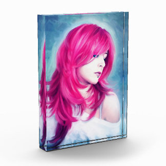 Pink Head sensual lady oil portrait painting Acrylic Award