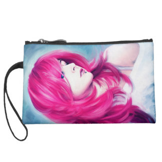 Pink Head sensual lady oil portrait painting Wristlet