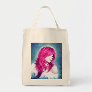 Pink Head sensual  lady oil portrait painting Canvas Bag