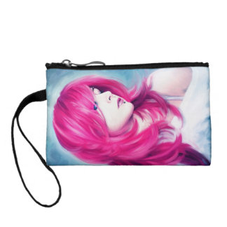 Pink Head sensual lady oil portrait painting Coin Purse