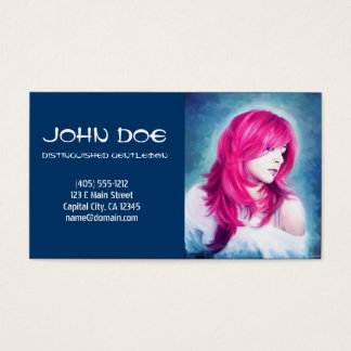 Pink Head sensual lady oil portrait painting Business Card