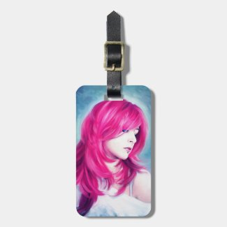 Pink Head sensual lady oil portrait painting Luggage Tags