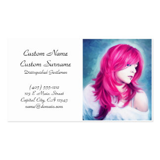 Pink Head sensual lady oil portrait painting pearl Business Card Templates