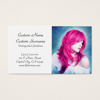 Pink Head sensual lady oil portrait painting pearl Business Card