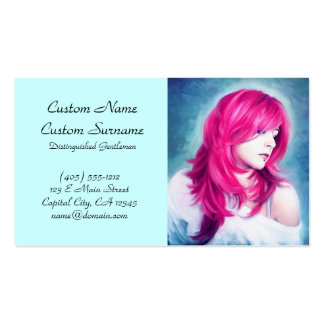 Pink Head sensual lady oil portrait painting pearl Business Cards