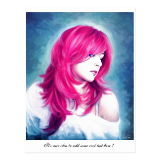 Pink Head sensual  lady oil portrait painting Post Card