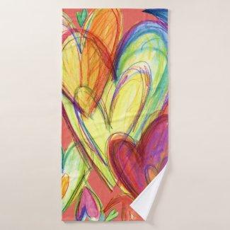 Pink Healing Hearts Art Towel