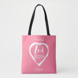 Pink Heart 2nd Cotton Wedding Anniversary Tote Bag