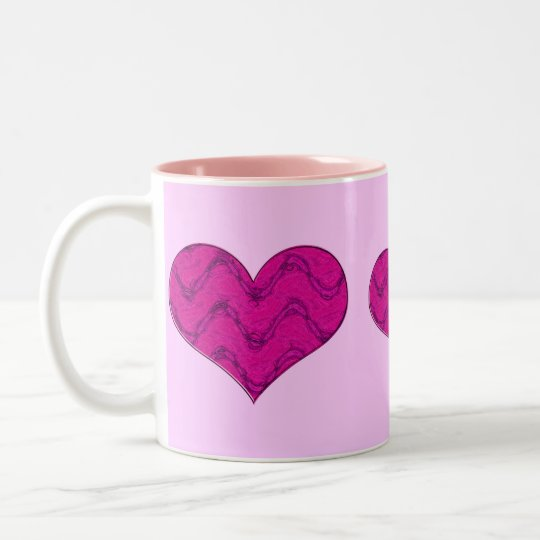 pink heart 3 Two-Tone coffee mug