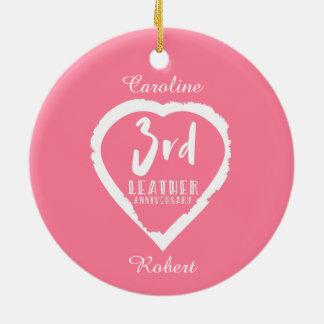 Pink Heart 3rd Cotton Wedding Anniversary Ceramic Ornament