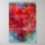 Pink Heart Abstract Art Design Poster