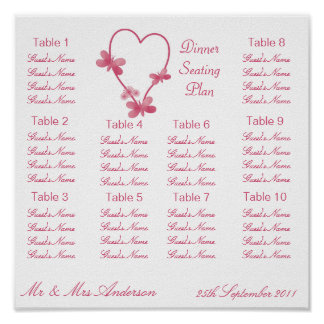 Pink Heart And Butterflies Seating Plan Poster