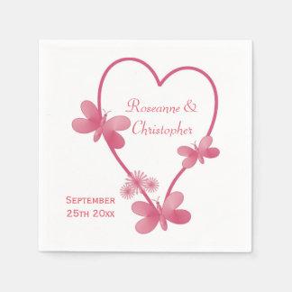 Pink Heart And Butterflies Wedding Paper Napkin