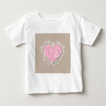 Pink heart and cream florals on beige wedding baby T-Shirt