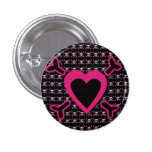 Pink Heart and Cross Bones on Black Pinback Button