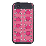 Pink Heart and Crossbones Pattern iPhone 4 Case