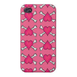 Pink Heart and Crossbones Pattern iPhone 4 Cover
