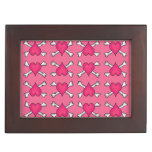 Pink Heart and Crossbones Pattern Memory Boxes