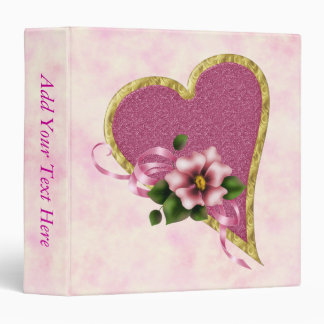 Pink Heart and Flowers Binders