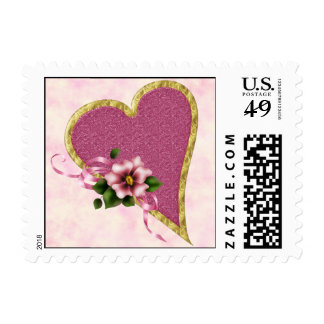 Pink Heart and Flowers Postage Stamp