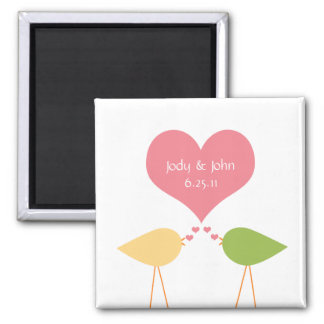 Pink Heart and Lovebirds Save The Date Magnet