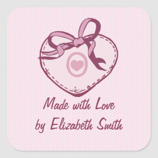 Pink Heart and Ribbon Square Sticker