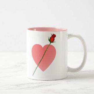 Pink Heart and Rose Mug