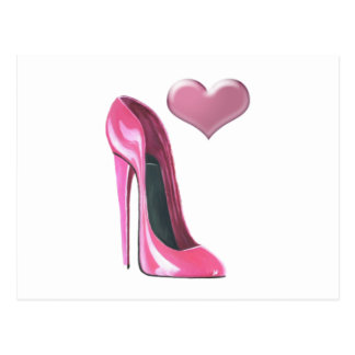 Pink Heart and Stiletto Shoe High Heel Art Post Cards