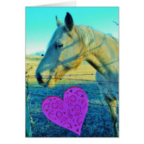 Pink Heart and Yellow Horse Card