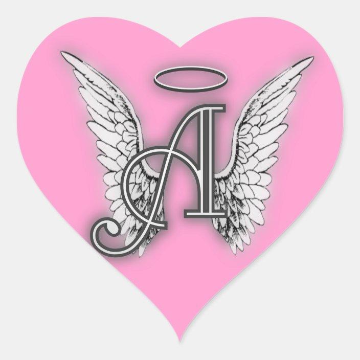 Pink Heart Angel Wings Monogram Heart Sticker Zazzle Com
