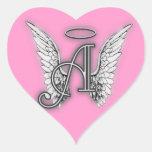 Pink Heart Angel Wings Monogram Heart Sticker