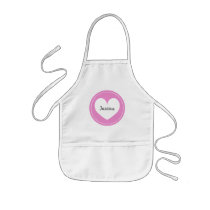 Pink heart apron for kids | Personalize name