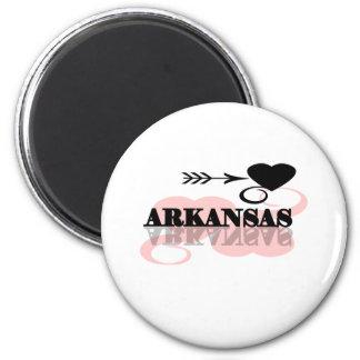 Pink Heart Arkansas 2 Inch Round Magnet