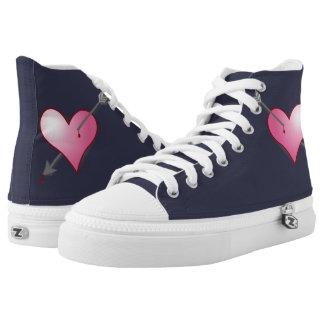Pink Heart Arrow Zipz HighTop Shoes,Mid Night Blue High-Top Sneakers