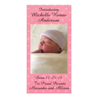 Pink Heart Baby Announcement Personalized 8x4