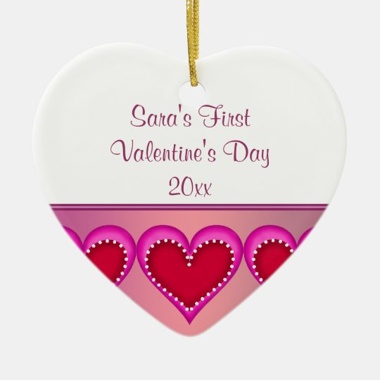 Pink Heart Baby Photo First Valentines Day Ceramic Ornament