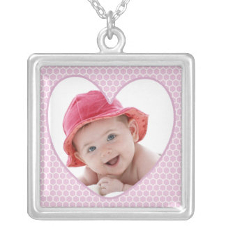 Pink Heart Baby Photo Silver Plated Necklace