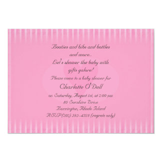 pink heart; baby shower 5x7 paper invitation card
