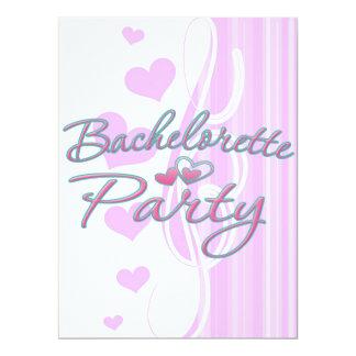 pink heart bachelorette party bridal shower 6.5x8.75 paper invitation card