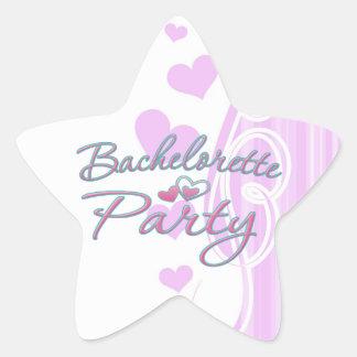 pink heart bachelorette party bridal shower star sticker