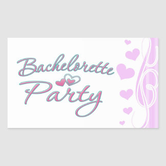 pink heart bachelorette party bridal shower rectangular sticker