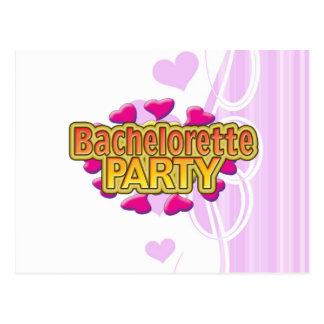 pink heart bachelorette party crazy neon wild fun postcard