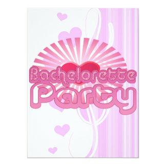 pink heart bachelorette party cute bridal 6.5x8.75 paper invitation card