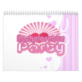 pink heart bachelorette party cute bridal calendar