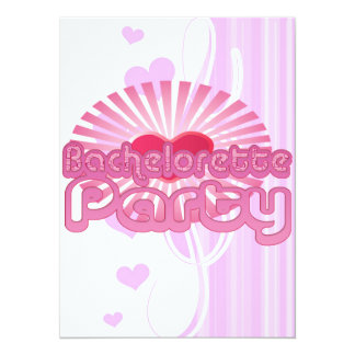 pink heart bachelorette party cute bridal custom invite