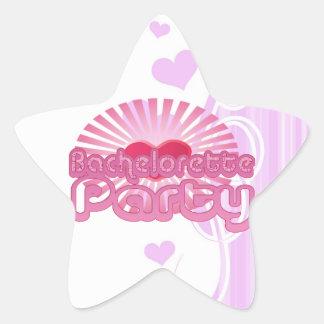 pink heart bachelorette party cute bridal star sticker