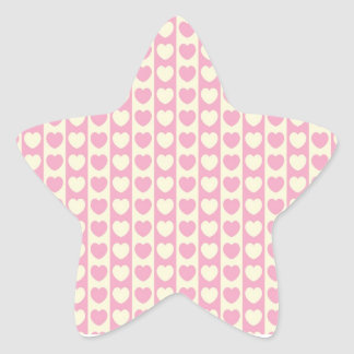 Pink Heart Background Star Sticker