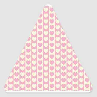 Pink Heart Background Triangle Sticker