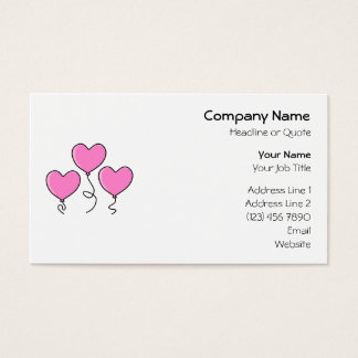 Pink Heart Balloon with Black Outline. Business Card