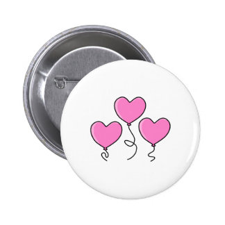 Pink Heart Balloon with Black Outline. Buttons
